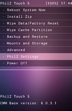 Philz touch - Android custom recovery