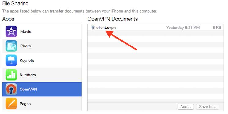 iTunes mostra il profilo VPN