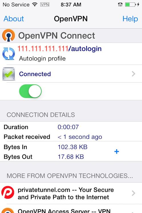 OpenVPN per iOS collegato alla rete VPN