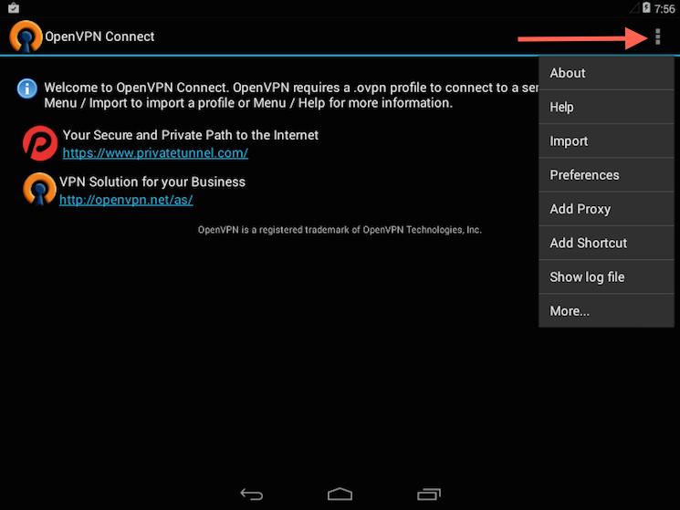 Il menu di importazione di OpenVPN per Android