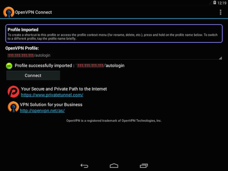OpenVPN per Android è pronto per connettersi alla rete VPN